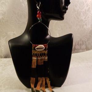 Shoulders length Kente cloth dangle earrings